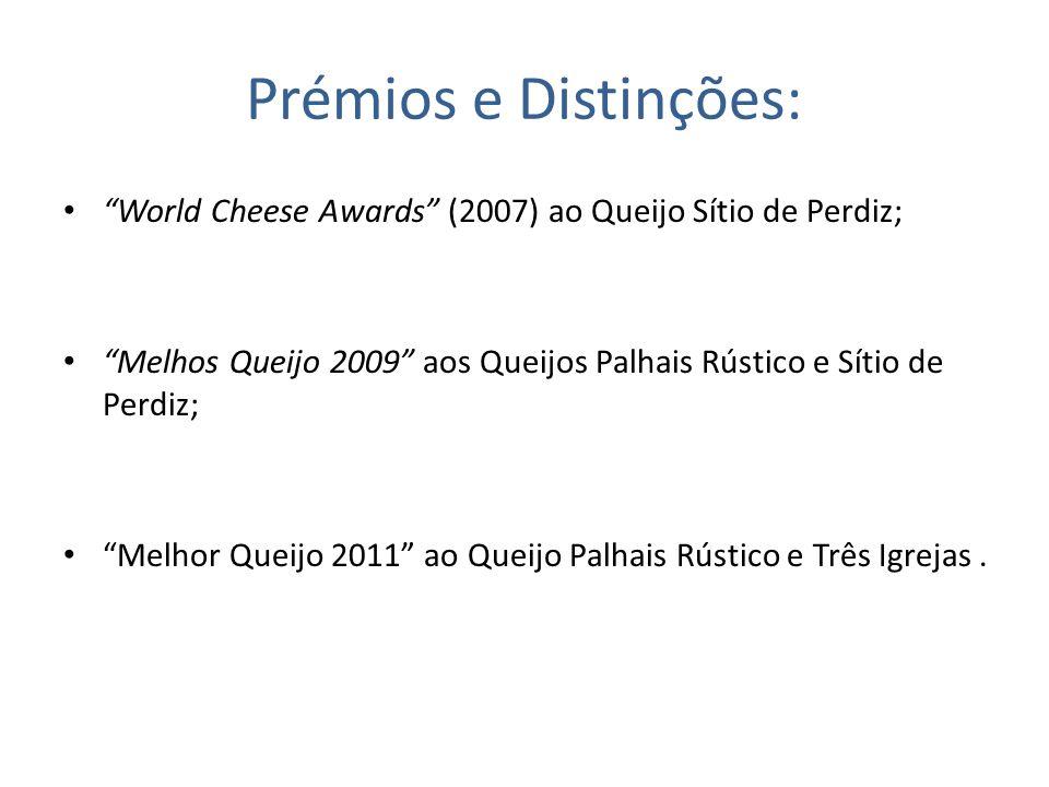 Prémios e Distinções: World Cheese Awards (2007) ao Queijo Sítio de Perdiz; Melhos Queijo 2009 aos Queijos Palhais Rústico e Sítio de Perdiz; Melhor Q
