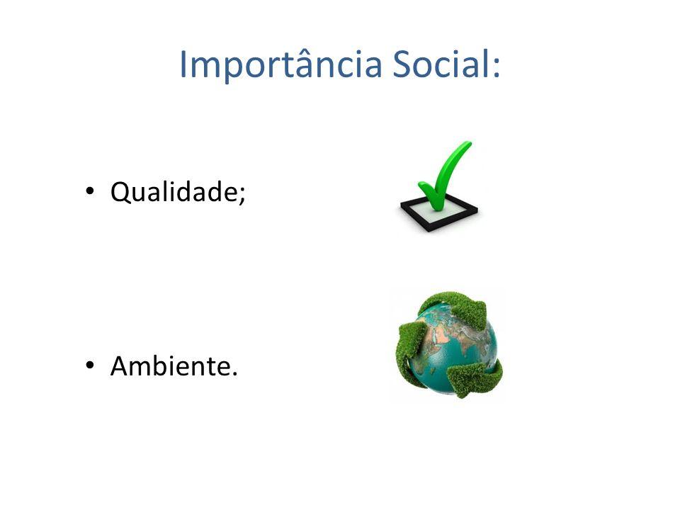 Importância Social: Qualidade; Ambiente.