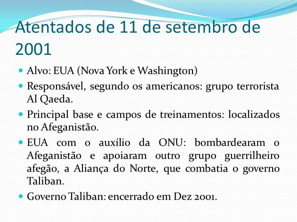 Atentados de 11 de setembro de 2001 Alvo: EUA (Nova York e Washington) Responsável, segundo os americanos: grupo terrorista Al Qaeda. Principal base e