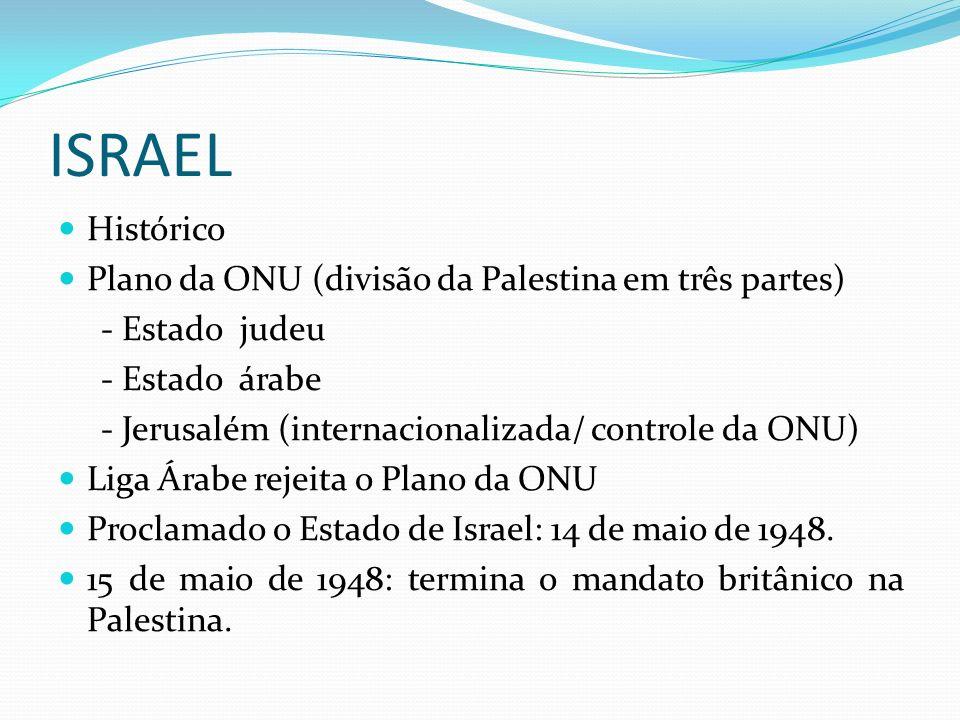 ISRAEL Histórico Plano da ONU (divisão da Palestina em três partes) - Estado judeu - Estado árabe - Jerusalém (internacionalizada/ controle da ONU) Liga Árabe rejeita o Plano da ONU Proclamado o Estado de Israel: 14 de maio de 1948.