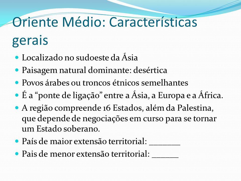 Oriente Médio: Características gerais Localizado no sudoeste da Ásia Paisagem natural dominante: desértica Povos árabes ou troncos étnicos semelhantes É a ponte de ligação entre a Ásia, a Europa e a África.