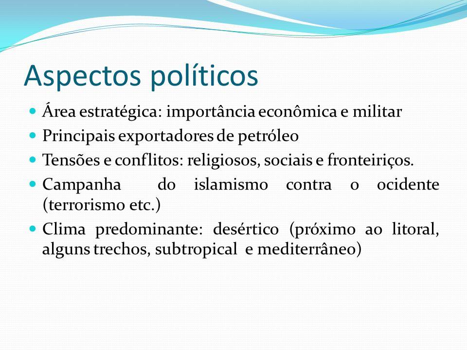 Aspectos políticos Área estratégica: importância econômica e militar Principais exportadores de petróleo Tensões e conflitos: religiosos, sociais e fronteiriços.