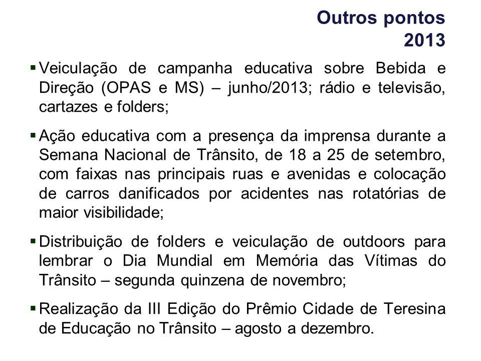 Outros pontos 2013 Veiculação de campanha educativa sobre Bebida e Direção (OPAS e MS) – junho/2013; rádio e televisão, cartazes e folders; Ação educa