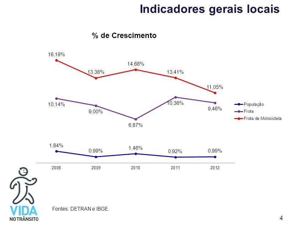 Indicadores gerais locais Fontes: DETRAN e IBGE. 4
