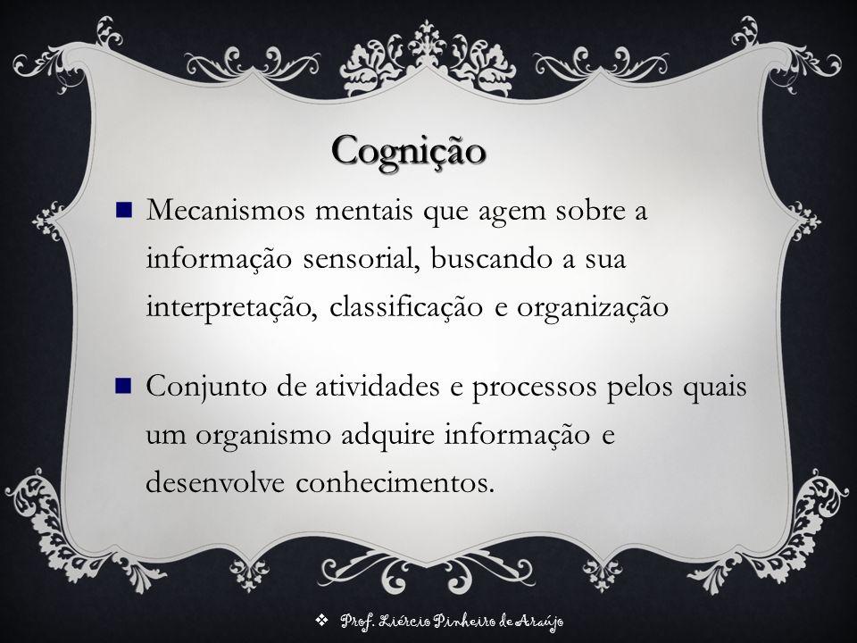 Prof. Liércio Pinheiro de Araújo Cognição Conjunto de atividades e processos pelos quais um organismo adquire informação e desenvolve conhecimentos. M