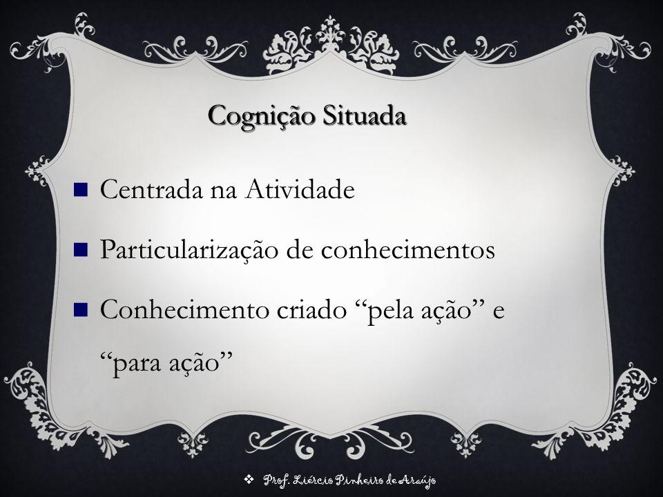 Prof. Liércio Pinheiro de Araújo Cognição Situada Centrada na Atividade Particularização de conhecimentos Conhecimento criado pela ação e para ação