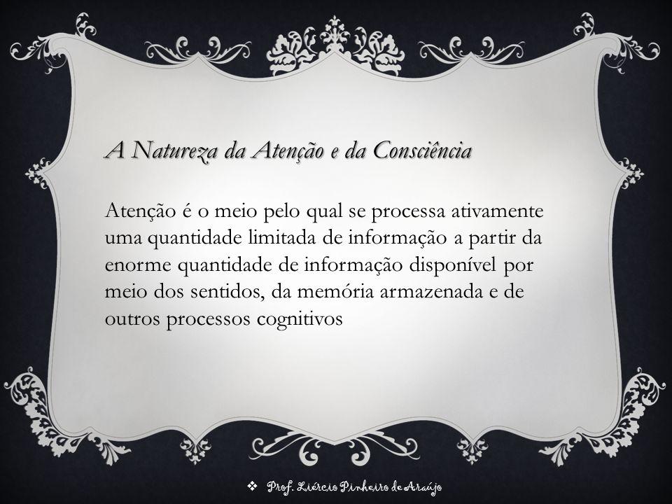 Prof. Liércio Pinheiro de Araújo A Natureza da Atenção e da Consciência Atenção é o meio pelo qual se processa ativamente uma quantidade limitada de i
