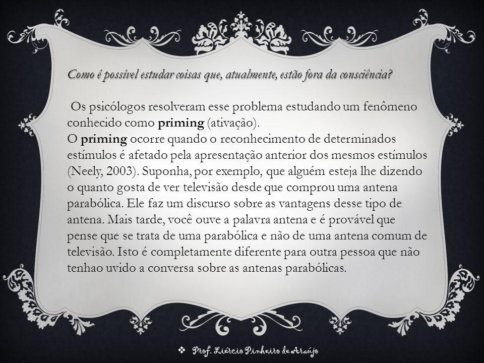 Prof. Liércio Pinheiro de Araújo Como é possível estudar coisas que, atualmente, estão fora da consciência? Os psicólogos resolveram esse problema est