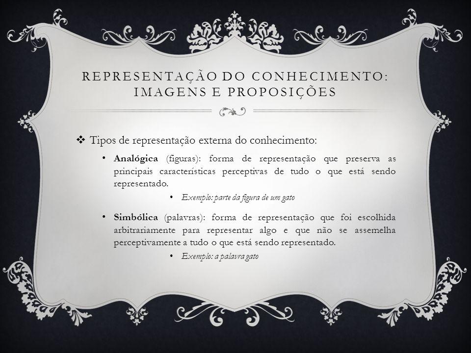 REPRESENTAÇÃO DO CONHECIMENTO: IMAGENS E PROPOSIÇÕES Tipos de representação externa do conhecimento: Analógica (figuras): forma de representação que p