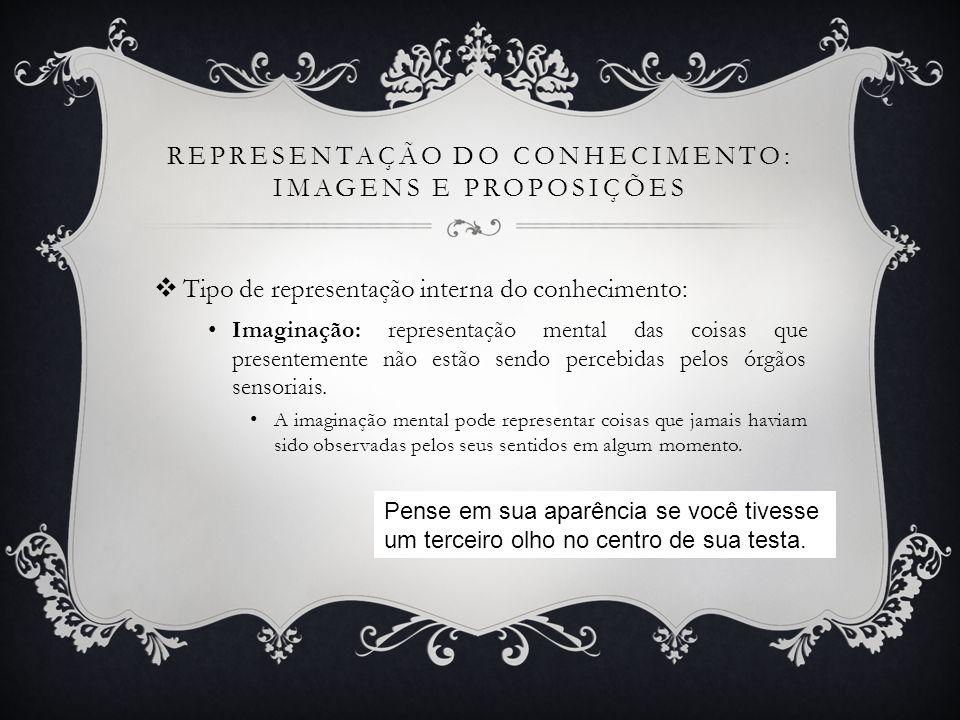 REPRESENTAÇÃO DO CONHECIMENTO: IMAGENS E PROPOSIÇÕES Tipo de representação interna do conhecimento: Imaginação: representação mental das coisas que pr