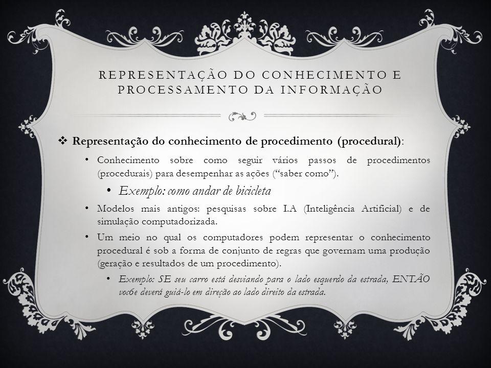 REPRESENTAÇÃO DO CONHECIMENTO E PROCESSAMENTO DA INFORMAÇÃO Representação do conhecimento de procedimento (procedural): Conhecimento sobre como seguir