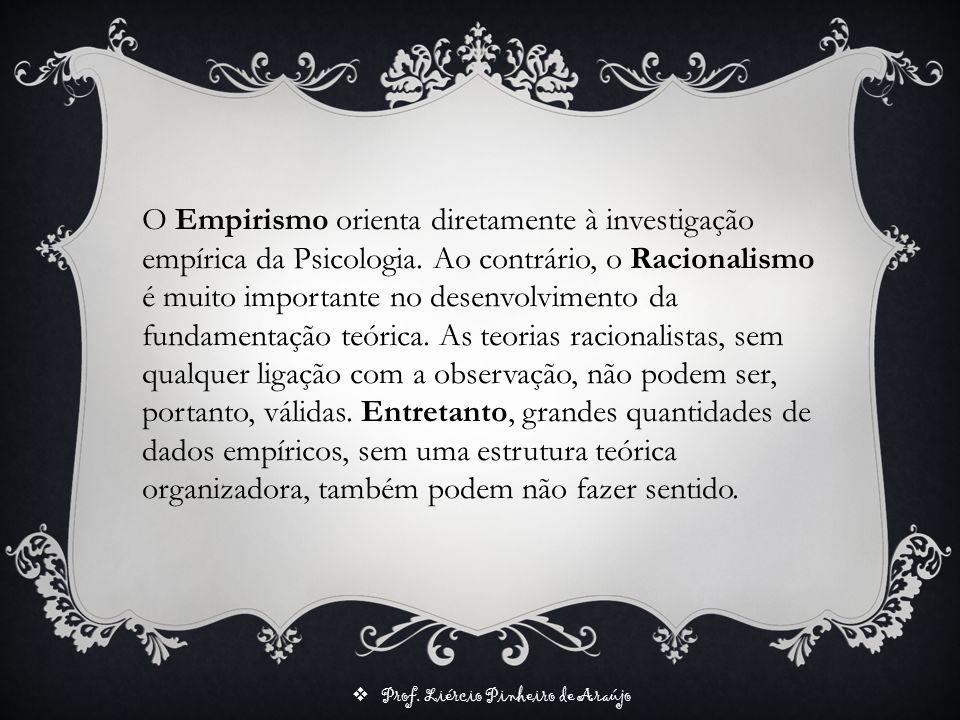 Prof. Liércio Pinheiro de Araújo O Empirismo orienta diretamente à investigação empírica da Psicologia. Ao contrário, o Racionalismo é muito important