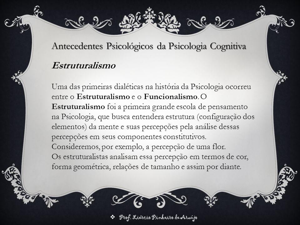 Prof. Liércio Pinheiro de Araújo Estruturalismo Uma das primeiras dialéticas na história da Psicologia ocorreu entre o Estruturalismo e o Funcionalism