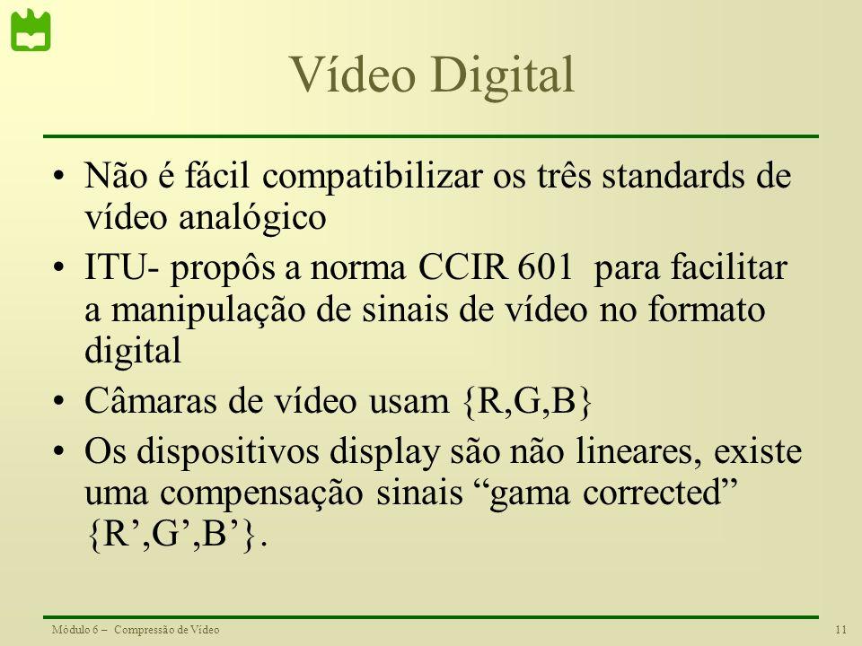 11Módulo 6 – Compressão de Vídeo Vídeo Digital Não é fácil compatibilizar os três standards de vídeo analógico ITU- propôs a norma CCIR 601 para facil
