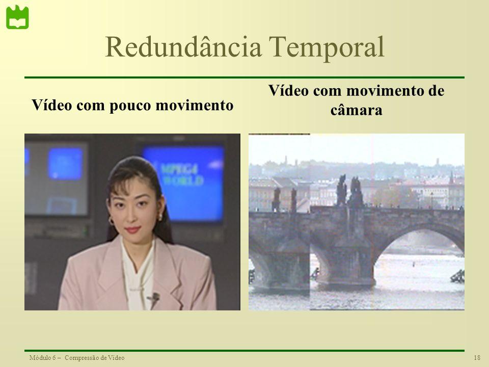 18Módulo 6 – Compressão de Vídeo Redundância Temporal Vídeo com pouco movimento Vídeo com movimento de câmara