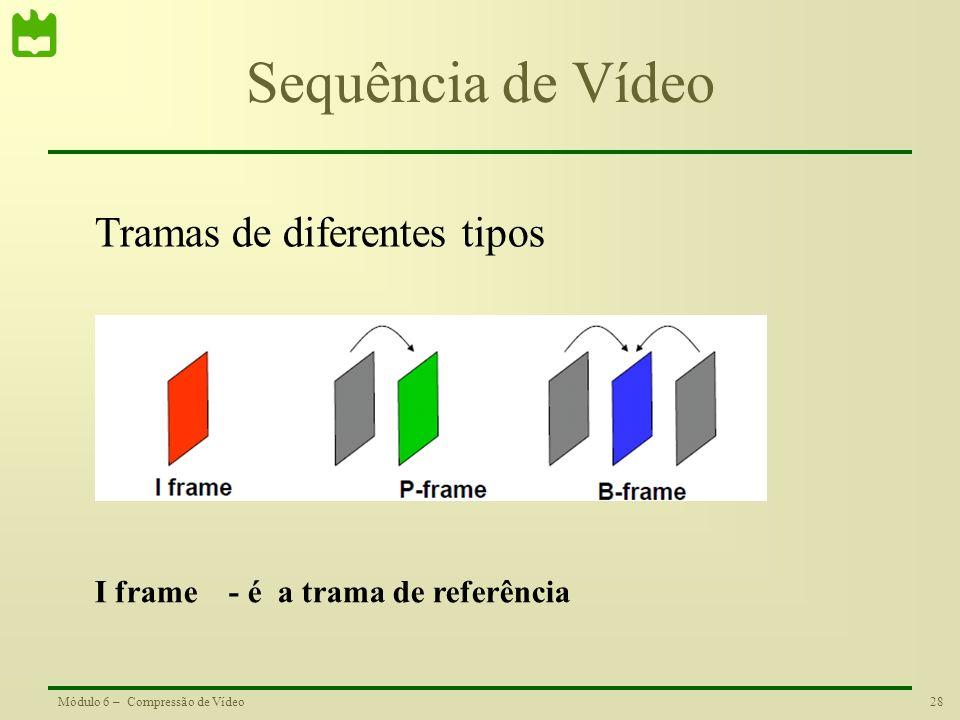 28Módulo 6 – Compressão de Vídeo Sequência de Vídeo Tramas de diferentes tipos I frame - é a trama de referência