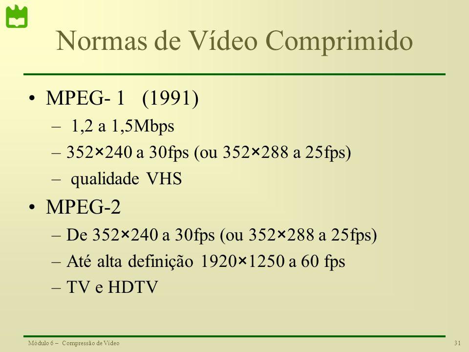 31Módulo 6 – Compressão de Vídeo Normas de Vídeo Comprimido MPEG- 1 (1991) – 1,2 a 1,5Mbps –352×240 a 30fps (ou 352×288 a 25fps) – qualidade VHS MPEG-