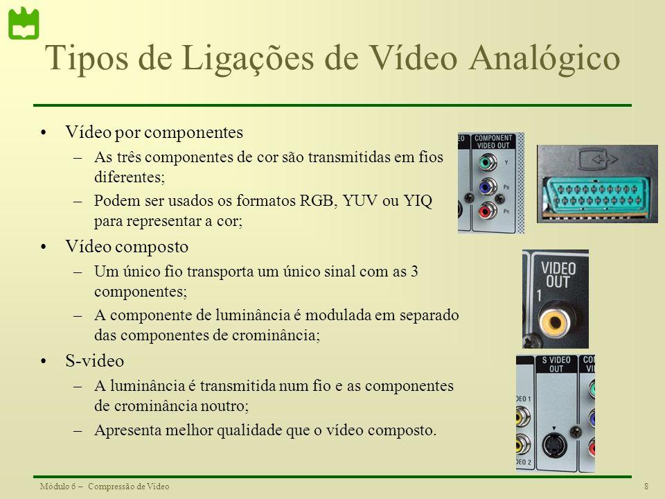 8Módulo 6 – Compressão de Vídeo Tipos de Ligações de Vídeo Analógico Vídeo por componentes –As três componentes de cor são transmitidas em fios difere