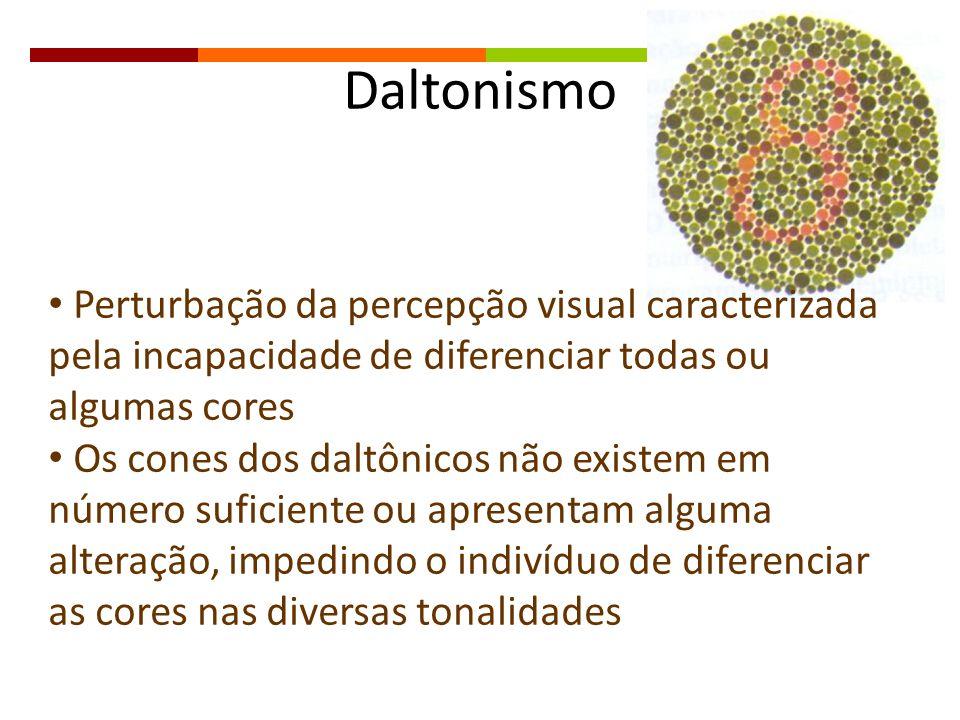 Daltonismo Perturbação da percepção visual caracterizada pela incapacidade de diferenciar todas ou algumas cores Os cones dos daltônicos não existem e