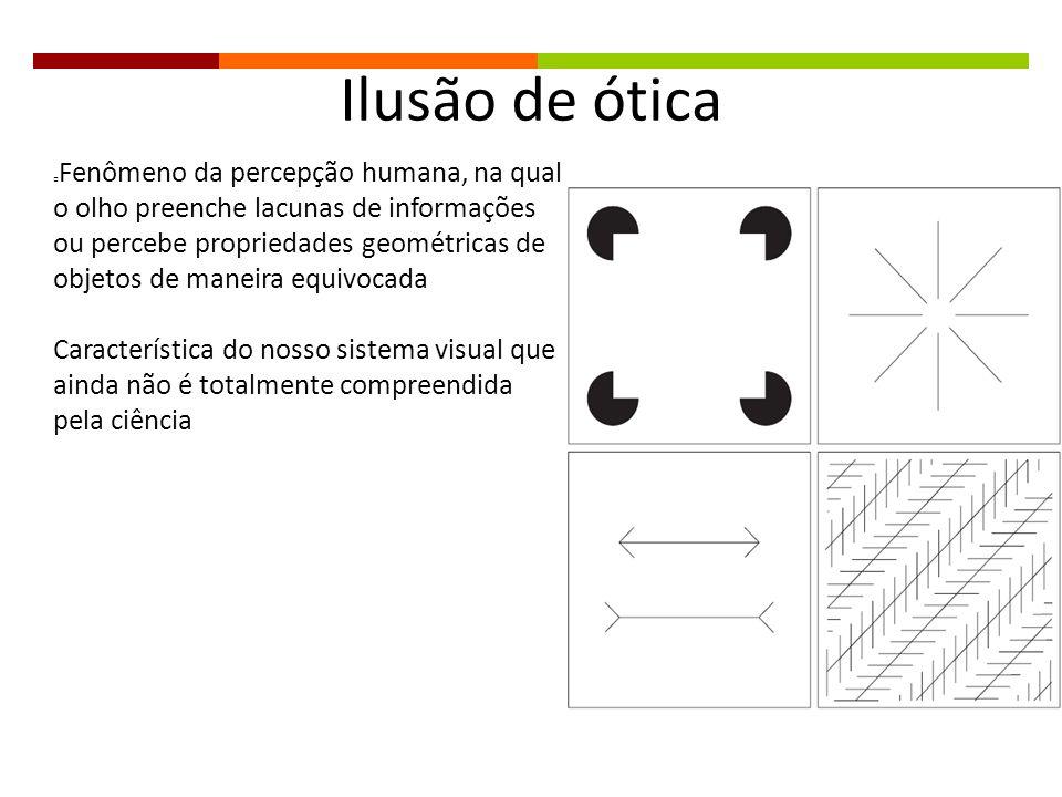 Ilusão de ótica Fenômeno da percepção humana, na qual o olho preenche lacunas de informações ou percebe propriedades geométricas de objetos de maneira