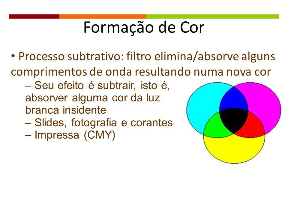 Formação de Cor Processo subtrativo: filtro elimina/absorve alguns comprimentos de onda resultando numa nova cor – Seu efeito é subtrair, isto é, abso