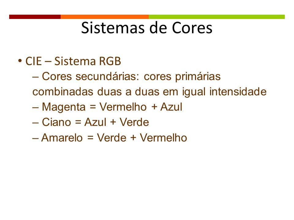 Sistemas de Cores CIE – Sistema RGB – Cores secundárias: cores primárias combinadas duas a duas em igual intensidade – Magenta = Vermelho + Azul – Cia