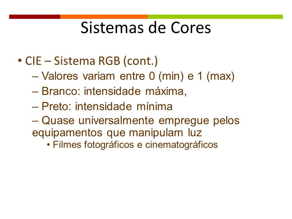 Sistemas de Cores CIE – Sistema RGB (cont.) – Valores variam entre 0 (min) e 1 (max) – Branco: intensidade máxima, – Preto: intensidade mínima – Quase