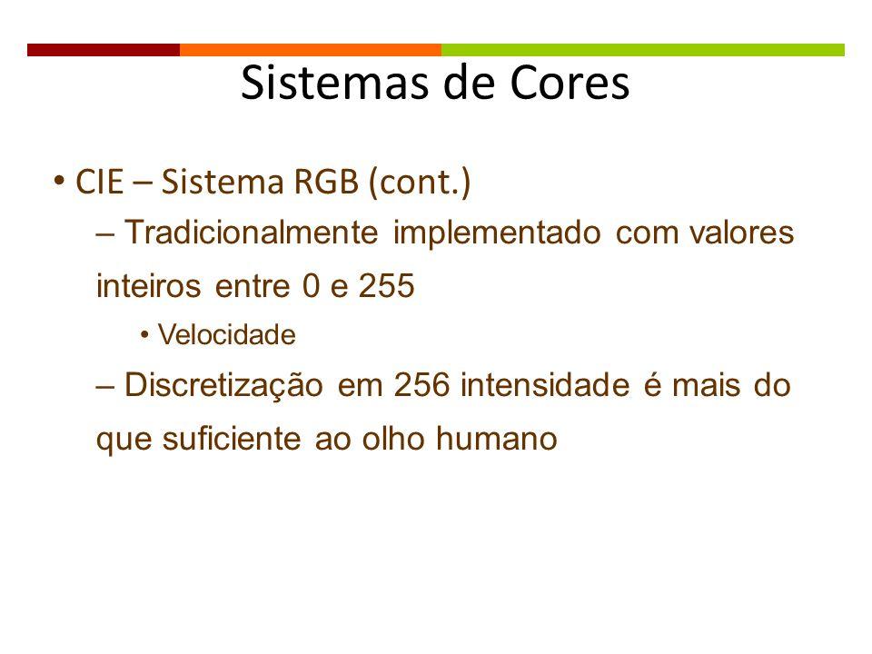 Sistemas de Cores CIE – Sistema RGB (cont.) – Tradicionalmente implementado com valores inteiros entre 0 e 255 Velocidade – Discretização em 256 inten