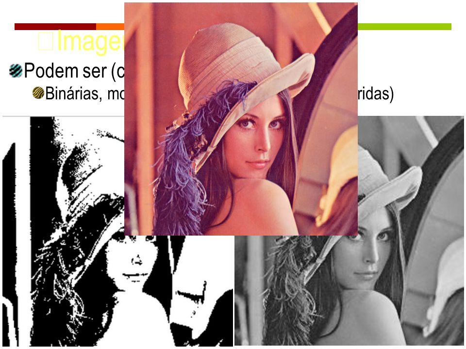 Imagens Digitais Podem ser (cont.): Binárias, monocromáticas ou multibandas (coloridas)