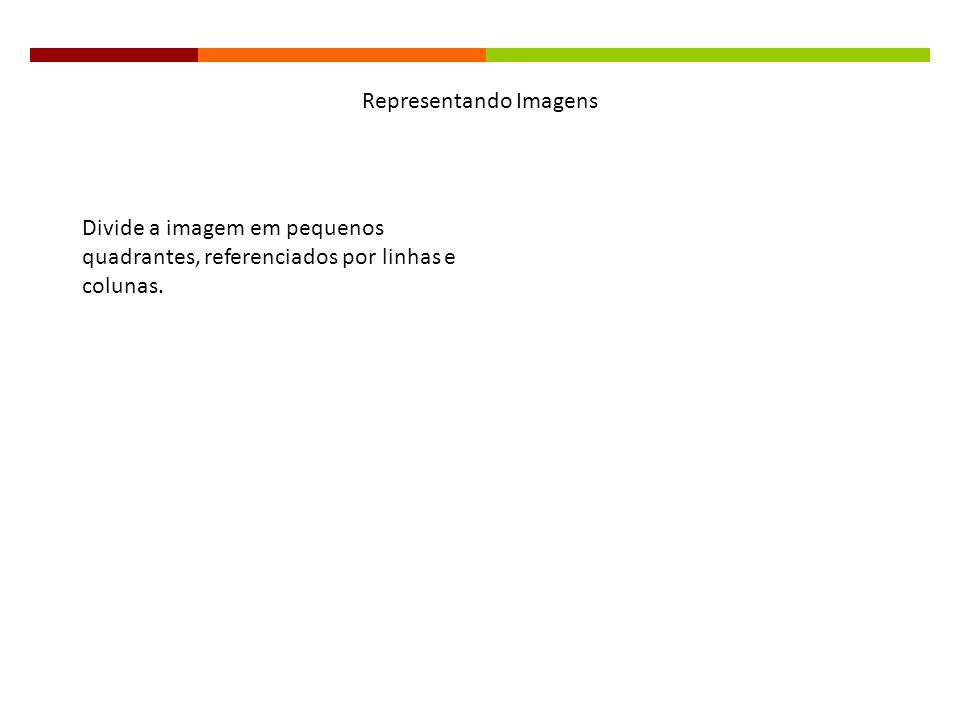 Representando Imagens Divide a imagem em pequenos quadrantes, referenciados por linhas e colunas.