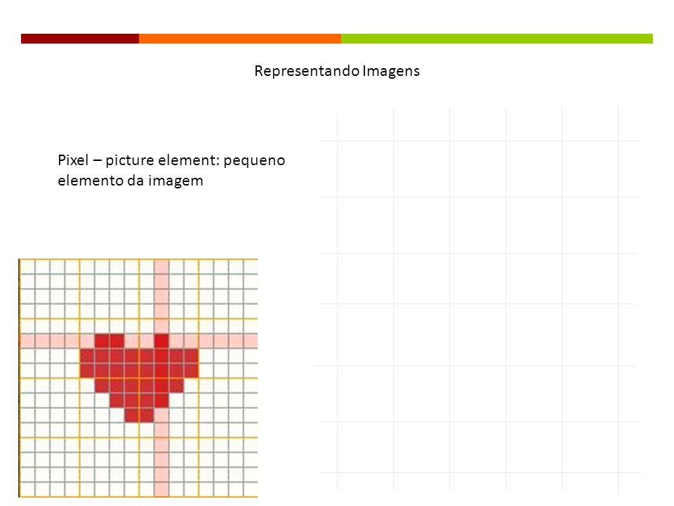 Mais pixels na imagem, melhor seu aspecto, mas aumenta o tamanho do arquivo Se uma imagem possui 1.000 pixels H x 1.000 pixels V, significa que possui um milhão de pixels, ou 1M como é mais comum nas propagandas de máquinas digitais 1.3MP: 1280 pixels de largura por 1024 = 1.310.720 pixels Resolução (imagens): quantos pixels a compõem Imagem digital: matriz de números F(x,y), onde x e y são coordenadas no plano e a amplitude f é a intensidade ou nível de cinza da imagem naquele ponto Representando Imagens