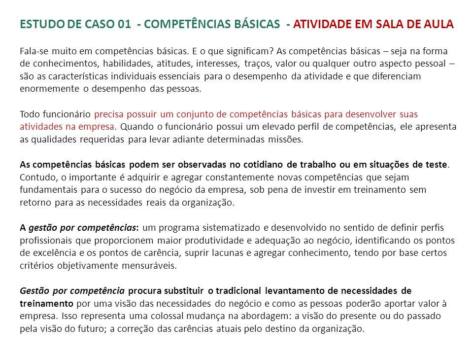 ESTUDO DE CASO 01 - COMPETÊNCIAS BÁSICAS - ATIVIDADE EM SALA DE AULA Fala-se muito em competências básicas. E o que significam? As competências básica