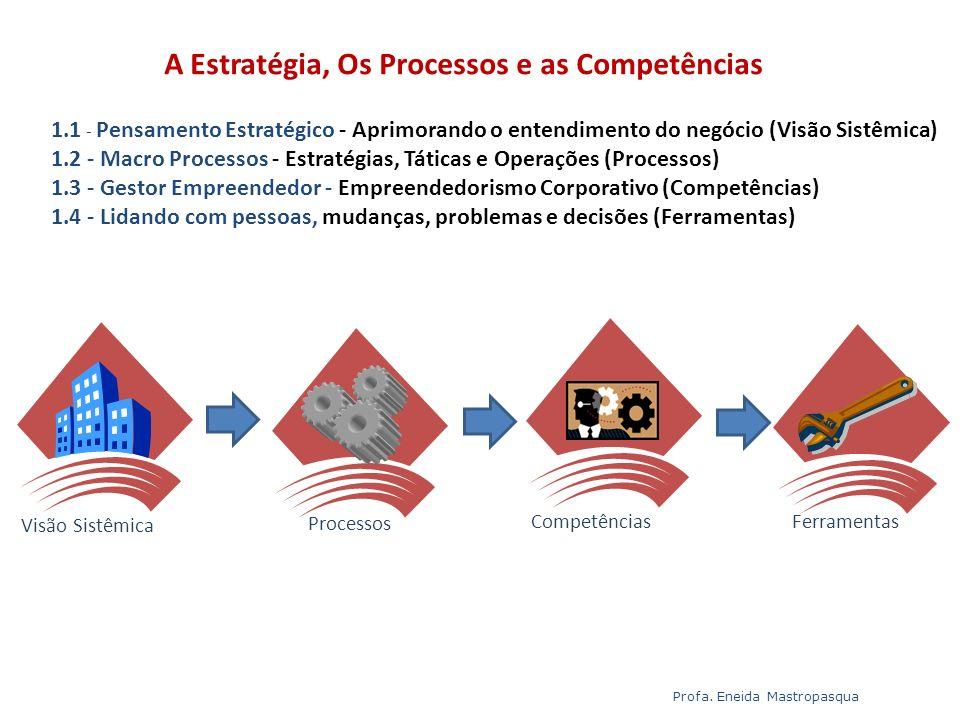 Ementa do Módulo 1 1.1 - Pensamento Estratégico - Aprimorando o entendimento do negócio (Visão Sistêmica) 1.2 - Macro Processos - Estratégias, Táticas