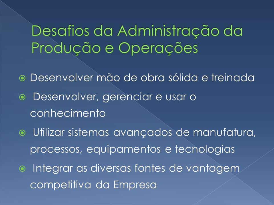 Desenvolver mão de obra sólida e treinada Desenvolver, gerenciar e usar o conhecimento Utilizar sistemas avançados de manufatura, processos, equipamen