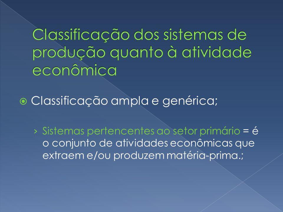 Classificação ampla e genérica; Sistemas pertencentes ao setor primário = é o conjunto de atividades econômicas que extraem e/ou produzem matéria-prim