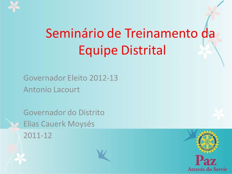 Seminário de Treinamento da Equipe Distrital Governador Eleito 2012-13 Antonio Lacourt Governador do Distrito Elias Cauerk Moysés 2011-12