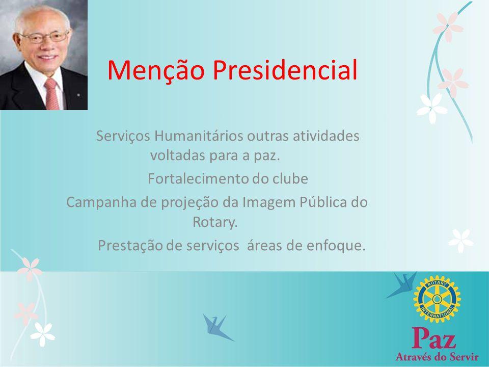 Menção Presidencial Serviços Humanitários outras atividades voltadas para a paz. Fortalecimento do clube Campanha de projeção da Imagem Pública do Rot