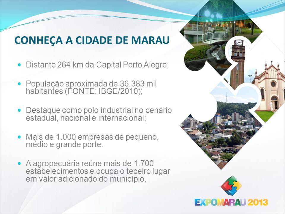 CONHEÇA A CIDADE DE MARAU Distante 264 km da Capital Porto Alegre; População aproximada de 36.383 mil habitantes (FONTE: IBGE/2010); Destaque como pol