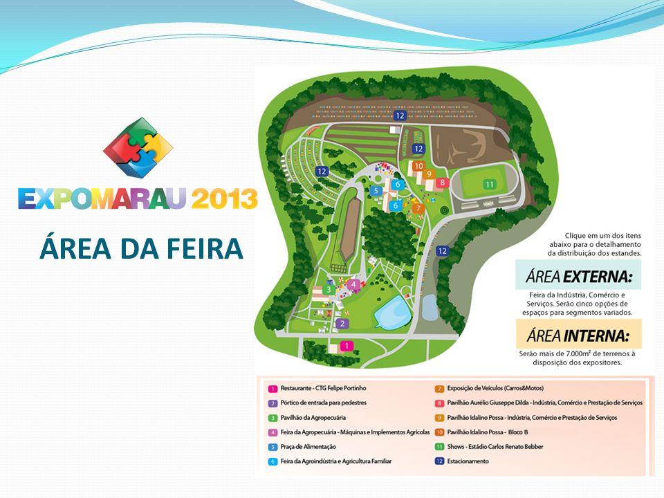 A Expomarau 2013 terá à disposição dos expositores mais de 250 ESTANDES INTERNOS: Pavimento superior: 40 estandes Pavimento inferior: 27 estandes PAVILHÃO AURÉLIO GIUSEPPE DILDA PAVILHÃO IDALINO POSSA Bloco A: 42 estandes Bloco B: 42 estandes PRAÇA DE ALIMENTAÇÃO 8 estandes FEIRA DA AGRICULTURA FAMILIAR 40 estandes PAVILHÃO DA AGROPECUÁRIA Pequenos, médios e grandes animais 62 estandes