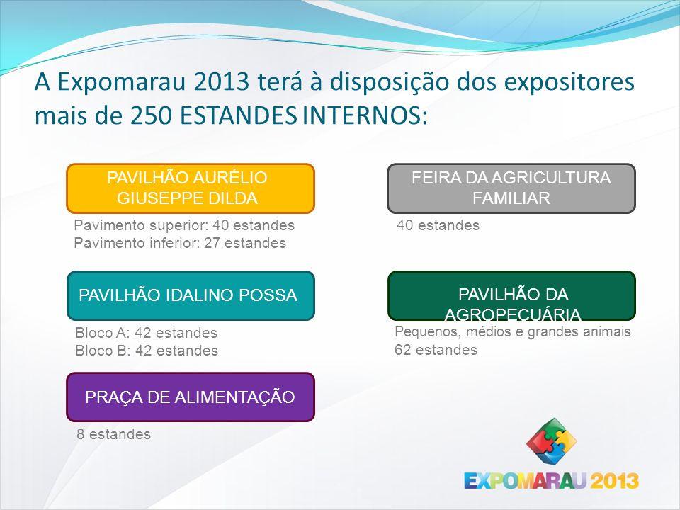A Expomarau 2013 terá à disposição dos expositores mais de 250 ESTANDES INTERNOS: Pavimento superior: 40 estandes Pavimento inferior: 27 estandes PAVI