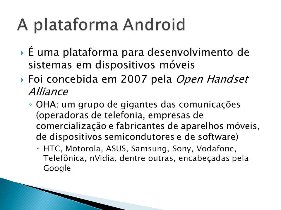 É uma plataforma para desenvolvimento de sistemas em dispositivos móveis Foi concebida em 2007 pela Open Handset Alliance OHA: um grupo de gigantes da