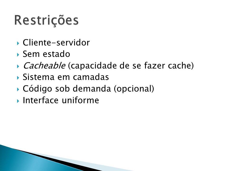 Cliente-servidor Sem estado Cacheable (capacidade de se fazer cache) Sistema em camadas Código sob demanda (opcional) Interface uniforme