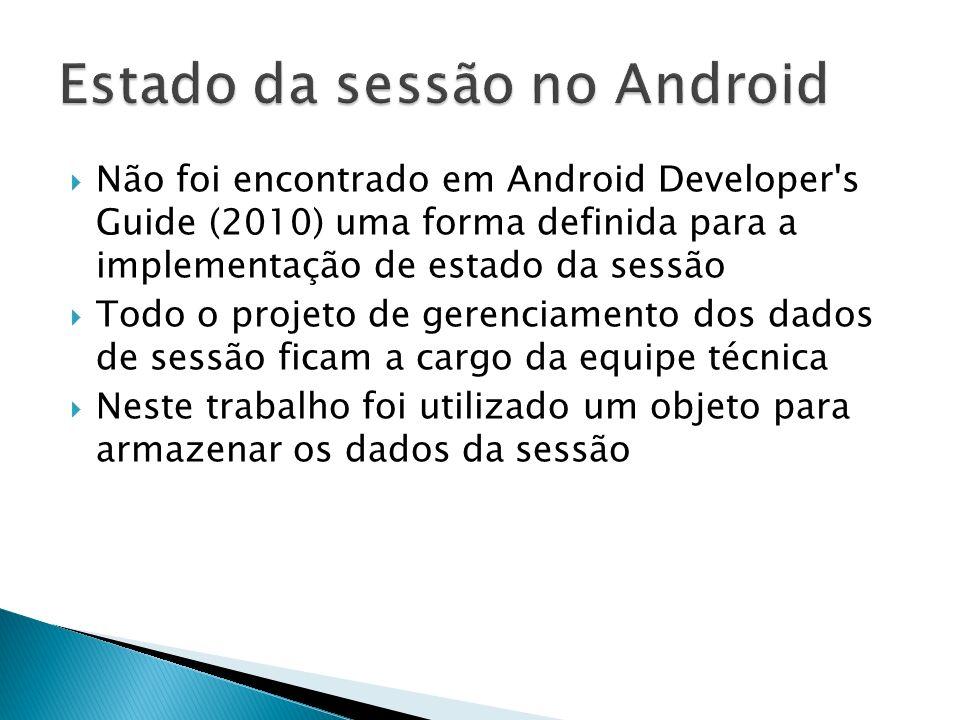 Não foi encontrado em Android Developer's Guide (2010) uma forma definida para a implementação de estado da sessão Todo o projeto de gerenciamento dos