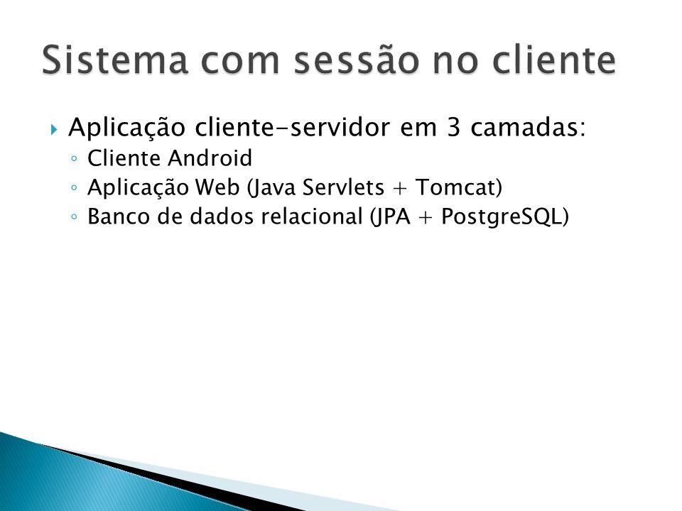 Aplicação cliente-servidor em 3 camadas: Cliente Android Aplicação Web (Java Servlets + Tomcat) Banco de dados relacional (JPA + PostgreSQL)