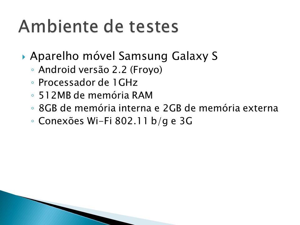 Aparelho móvel Samsung Galaxy S Android versão 2.2 (Froyo) Processador de 1GHz 512MB de memória RAM 8GB de memória interna e 2GB de memória externa Co