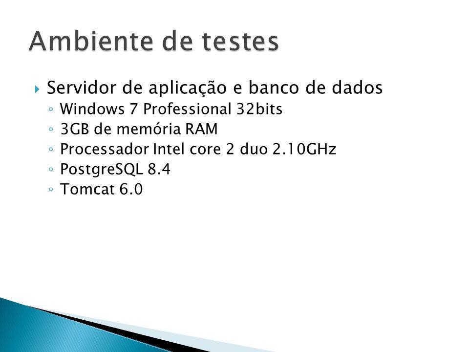 Servidor de aplicação e banco de dados Windows 7 Professional 32bits 3GB de memória RAM Processador Intel core 2 duo 2.10GHz PostgreSQL 8.4 Tomcat 6.0