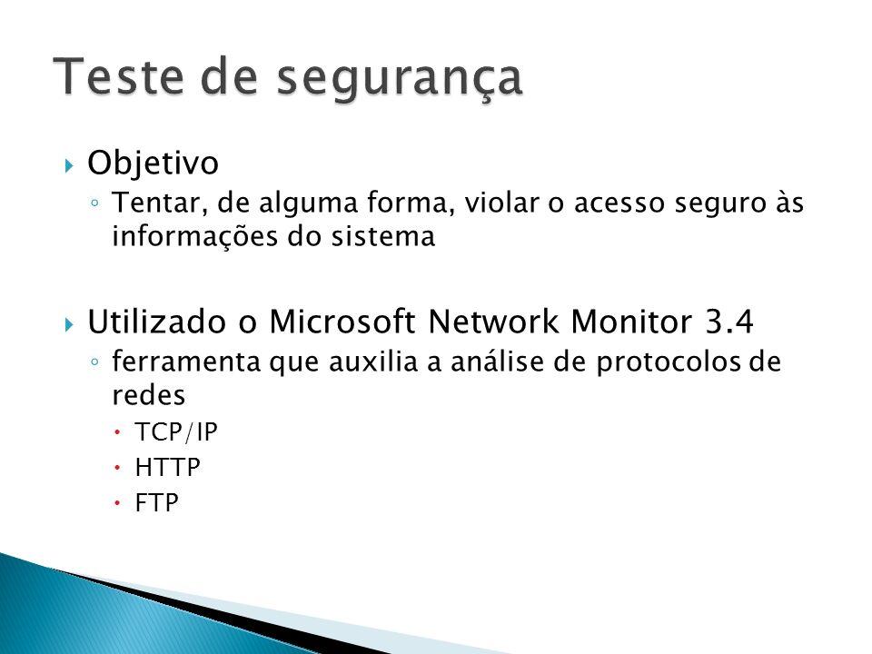 Objetivo Tentar, de alguma forma, violar o acesso seguro às informações do sistema Utilizado o Microsoft Network Monitor 3.4 ferramenta que auxilia a