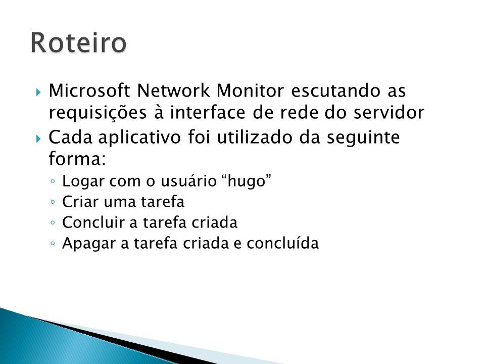 Microsoft Network Monitor escutando as requisições à interface de rede do servidor Cada aplicativo foi utilizado da seguinte forma: Logar com o usuári