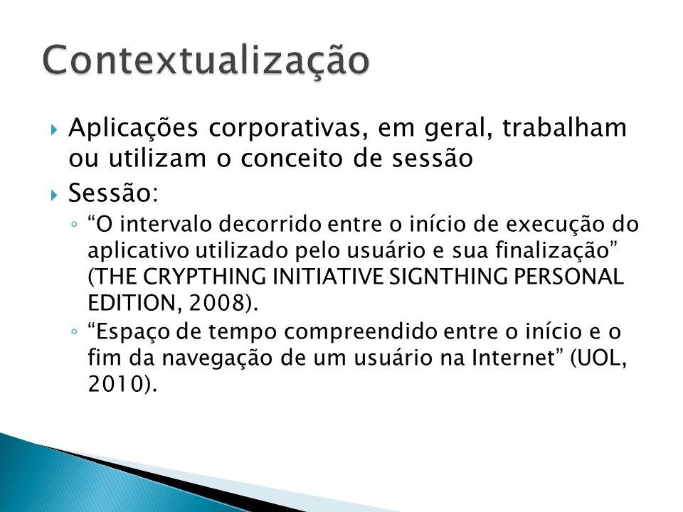 Aplicações corporativas, em geral, trabalham ou utilizam o conceito de sessão Sessão: O intervalo decorrido entre o início de execução do aplicativo u
