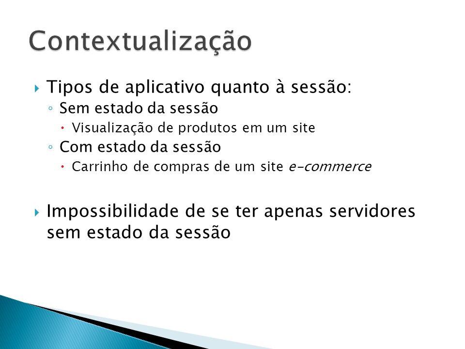 Tipos de aplicativo quanto à sessão: Sem estado da sessão Visualização de produtos em um site Com estado da sessão Carrinho de compras de um site e-co